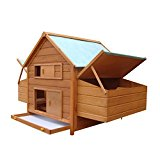 PawHut Wood Chicken Cage Outdoor Poultry Coop Hens Ducks Nesting Hutch w/ Nest Boxes