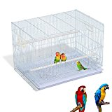 PawHut Metal Bird Cage for Cockatiel Canary Finch Parakeet Parrot w/ 2 Perches 2 Feeding Trays