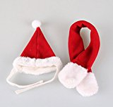 Pet Products Hot cute handsome Christmas red dog hat scarf suit (suit S)