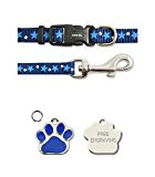 Ancol Blue Stars Small Bite Bone Puppy Small Dog Collar and Lead Set With Paw Print Shaped Glitter ID Tag