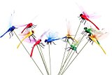 Homgaty 10X Dragonflies on Stick for Flower Bed Plant Pot Vase Ornament Garden Decoration