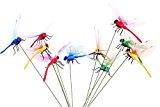 Homgaty 10X Dragonflies on Stick for Flower Bed Plant Pot Vase Ornament Garden Decoration