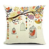 HomeChoice Cotton Linen Durable Home Love Birdcage Square Decorative Throw Pillow Cover Accent Cushion Cover Pillow Shell Bed Pillow Case 18 By 18 Inches (18
