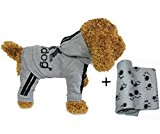 YAAGLE Pet Warm Sweater Hoodie Coat Sweatshirt Clothes Costume Apparel for Dog Puppy Cat,Grey,XXL+Blanket