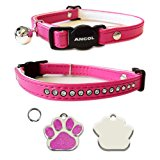 ANCOL Cat Cerise Pink Deluxe Jewel Quick Release Collar With Engraved Paw Print Shaped Glitter Cat ID Tag