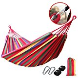 Portable Canvas Fabric Travel Camping Hammock Red 200*100cm