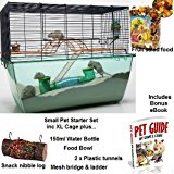 Small Pet Starter Set XL Cage Food Snack Log Water Bottle Food Bowl Plastic Tunnels Suitable for Hamsters, Mice, Gerbils