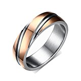 Yc Top Fashion Wedding Rings Simple Twill Titanium Steel Rose Gold Plated Men Ring Size X 1/2 UK