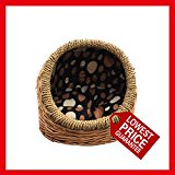 Handmade Luxury hooded wicker basket for dogs&cats,dog beds,cat beds. Inner and cushion may vary as random selected (Large)