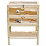 Songmics Wooden Hamster Cage Guinea Rodent House Mice Cage 80 x 60 x 40 cm PHC002