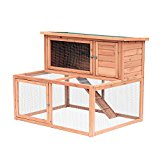 PawHut 2 Tier Wooden Large Rabbit Hutch Outdoor Chicken Coop Backyard Pet Run Play House Garden Animal Cage w/ Ramp
