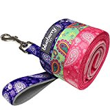 Blueberry Pet Lead with Soft & Comfortable Handle, 150 cm x 2cm Paisley Flower Print Dog Lead in Violet, Medium, Leads for Dogs, Matching Collar & Harness Available Separately