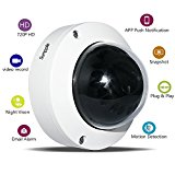 Sumpple Wired 1280*720P Indoor IP Video Security Dome Camera, 1.0MP Network Dome Camera, Day Night Vision, Motion Detection, Video Record, Email Alarm, Snapshot for Home Office Business, Support Controlling and Viewing with App on IOS iPhone, Android or PC - White
