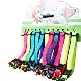 12pcs Colorful Nylon adjustable Cat Collars with Bell