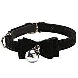 Cat Collar Kitten Velvet Bow Tie Safety Elastic Bowtie Bell 6 4 Colours