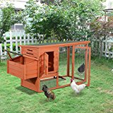 PawHut 2 Tier Deluxe Chicken Coop Large Wooden House Run Poultry Home Ducks Nesting Rabbit Hen Hutch Ark Waterproof w/ Nest Box