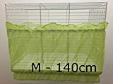 Bird Cage Tidy Seed Catcher Skirt Guard Pile Fabric Double Strap - Green - Medium - 140cm
