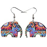BONSNY Large Pop-Art Jungle Elephant Statement Long Drop Earrings
