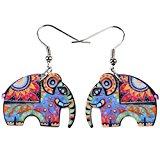 BONSNY Large Pop-Art Jungle Elephant Statement Long Drop Earrings