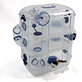 Large Hamster Cage in Clear plastic with 2 or 3 Levels (3 storey, Blue)