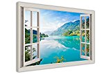 MOUNTAIN VIEW LAKE AND FOREST WINDOW VIEW EFFECT CANVAS WALL ART PICTURES DECO PRINTS 38MM THICK FRAME SIZE: A1 - 34