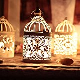 KING DO WAY Metal Tealight Candle Holder Lanterns Creative Wedding Home Table Decoration Birdcage White 8x14cm