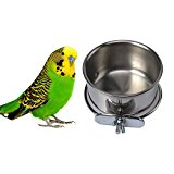 Stainless Steel Hanging Bowl Bird Food Feeding Dish Water Feeder for Parrot Macaw African Greys Budgies Parakeet Cockatiels Conure Lovebirds Finch Pigeon Cage