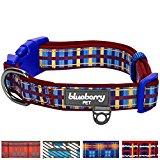 Blueberry Pet Soft & Comfortable Scottish Adventure Madison Stripes Designer Padded Dog Collar, Neck 45cm-66cm, Large, Collars for Dogs
