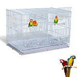 PawHut Metal Bird Cage for Cockatiel Canary Finch Parakeet Parrot w/ 4 Perches 4 Feeding Trays