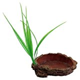 Brick Red Oval Shape Resin Terrarium Tank Reptiles Dish Bowl w Grass