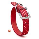 SODIAL (R)Red PU Dog Pet Pitbull Polka Dots Rhinestone Neck Collar Strap Buckle M