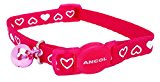 A Hearts Cat Collar with Safety Clip & Bell, (Raspberry Pink)