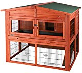 Pine Wood XL Animal Hutch with Run - Double-Storey Large Hutch with Spacious Sleeping Area, Sliding Door - Narrow Bar Spacing for Housing of Young and Small Pets