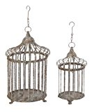 Deco 79 Metal Bird Cage, 24-Inch and 17-Inch, Set of 2