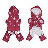 PUERI Coat Warm Winter Four Paws Design Drawing Flatpacked Snowflake has Hoodie Dog Bulldog French, S