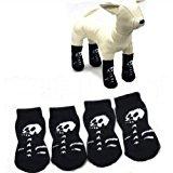 Doggie Style Store Black Skeleton Dog Grip Anti Slip Socks Slippers (Pack of 4) - 4 Sizes